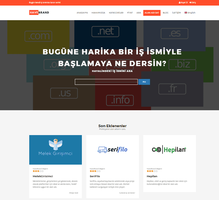 Markalaştırılmış Domain Satış Platformu HaveBrand